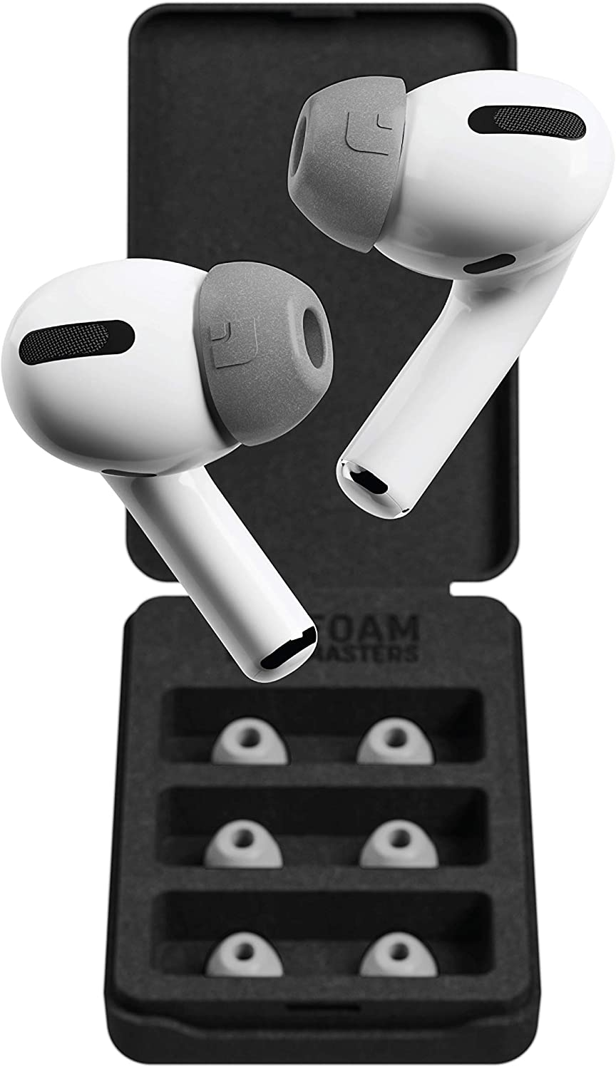 Foam Masters Memory Foam Ear Tips for AirPods Pro - 3 Pairs | Version 4.0 - Black Magic | Comfortable | Secure | Better Noise Cancellation | Newest 2021 Replacement Buds (Small, Gray)