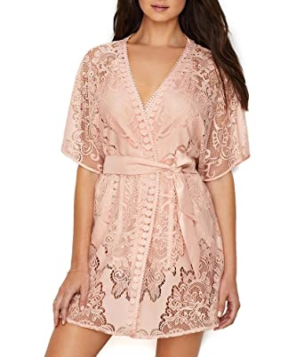 2327bc2500c9f Amazon.com: Flora Nikrooz Millie Crochet Lace Robe, S, Buff: Clothing
