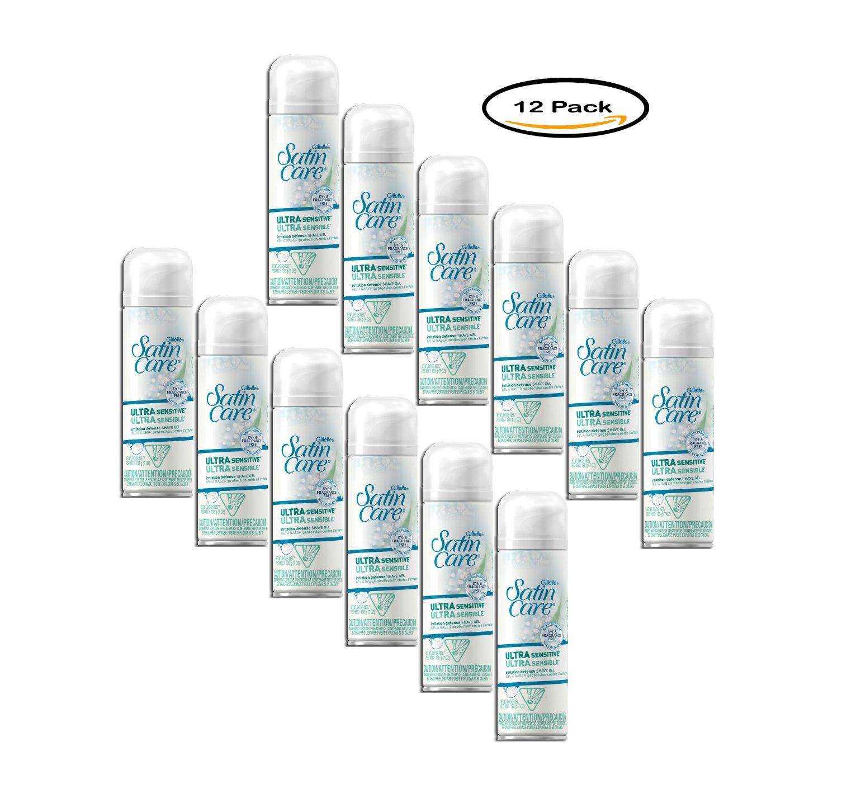 PACK OF 12 - Gillette Satin Care Ultra Sensitive Shave Gel 7 oz. Spout Top Can