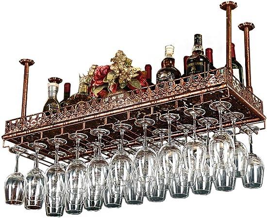 Casier A Vin Suspendu Au Plafond Porte Verre A Vin Suspendu Decoration Porte Bouteille De Vin Rouge Suspendu Vintage Haut Etagere Murale Pour Rangement Bronze 60x35cm Amazon Fr Cuisine Maison