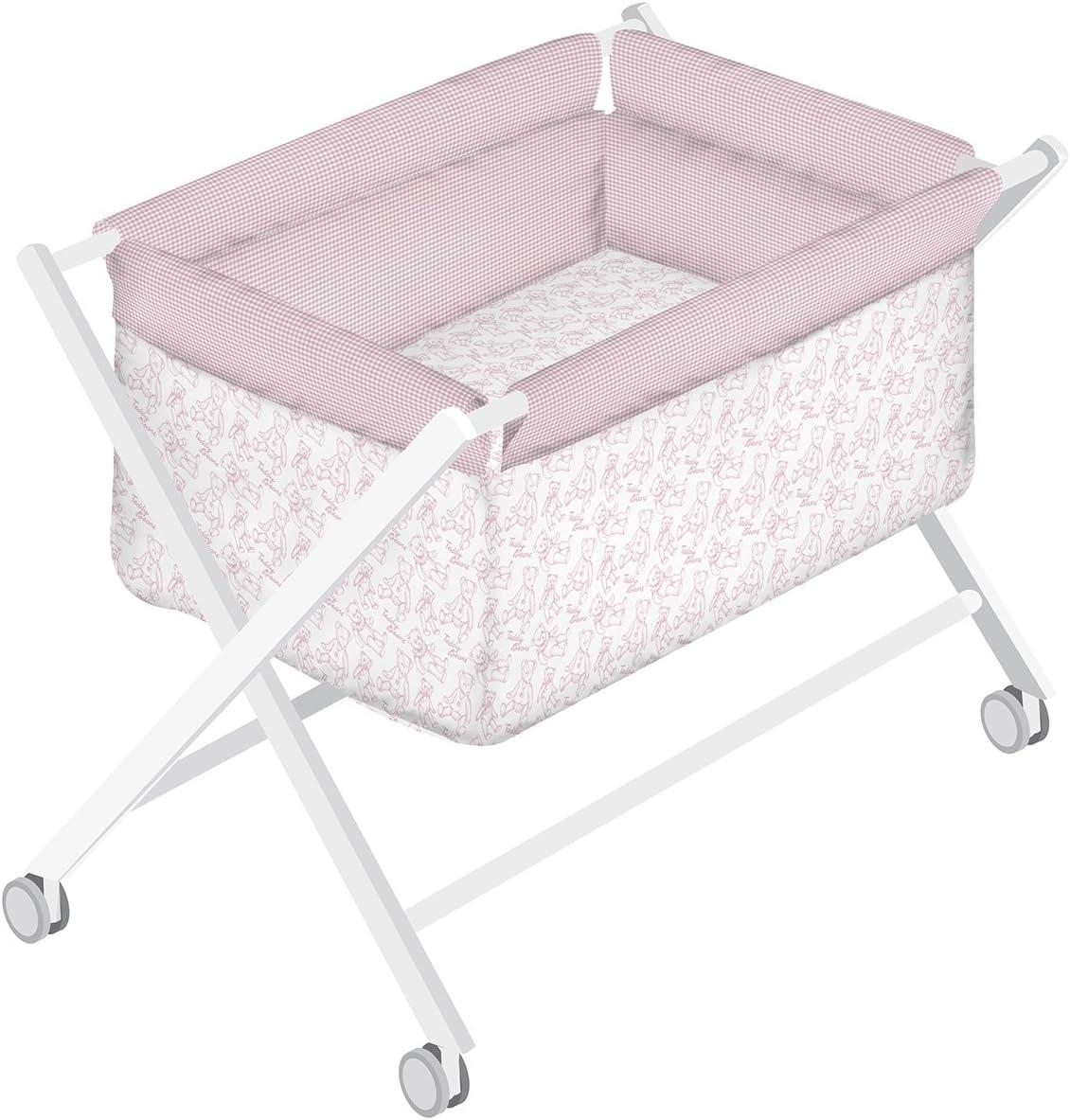 dise/ño Rom/ántico Petit Lazzari Teddy color rosa Minicuna completa