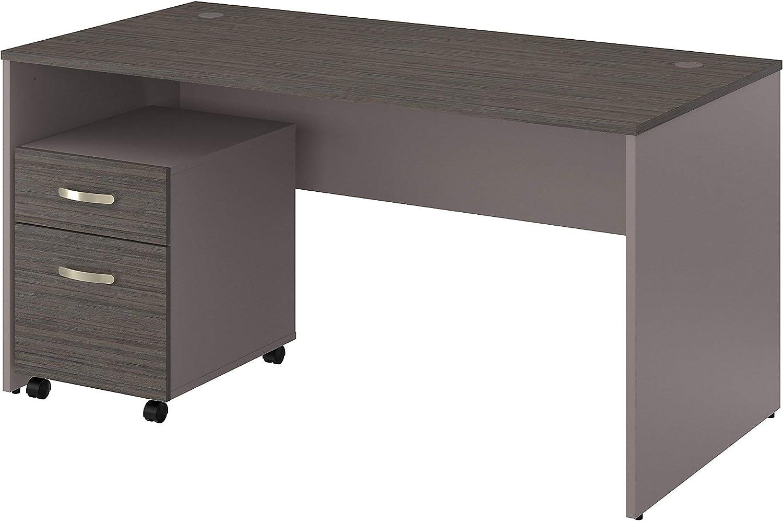Bush Furniture Commerce 60W Office Desk with Mobile File Cabinet