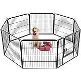 Yaheetech 8-tlg Welpenlaufstall Freilaufgehege Welpenauslauf Hundelaufstall Tierlaufstall für Kleintiere, mit Tür