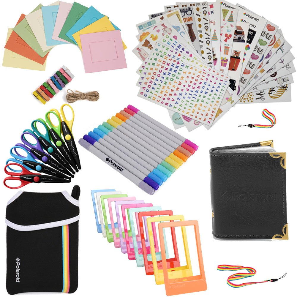 Holiday Accessory Gift Bundle FOR HP Sprocket, Prynt Instant Printer - Pouch + Edged Scissors + Album + 10 Color Frames + 7 Colorful Sticker Sets + Twin Tip Markers + Hanging Frames +Neck/Hand Strap Polaroid AMZSBHPK2