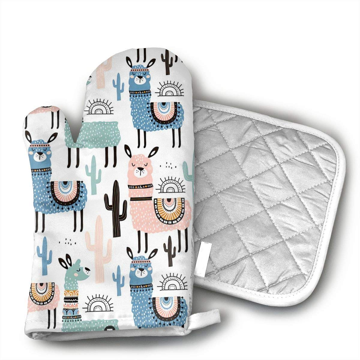 Llama Cactus Oven Mitts and Pot Holders Set with Polyester Cotton Non-Slip Grip, Heat Resistant, Oven Gloves for BBQ Cooking Baking, Grilling