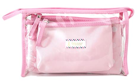61f4ad521d19 Amazon.com   Zhoma 3 Piece Waterproof Cosmetic Bag Set - Makeup Bags And Travel  Case - Pink   Beauty