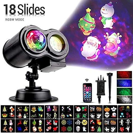 KDBWYC Sock Proyector de Halloween Luz LED 18 Diapositivas Luz de ...