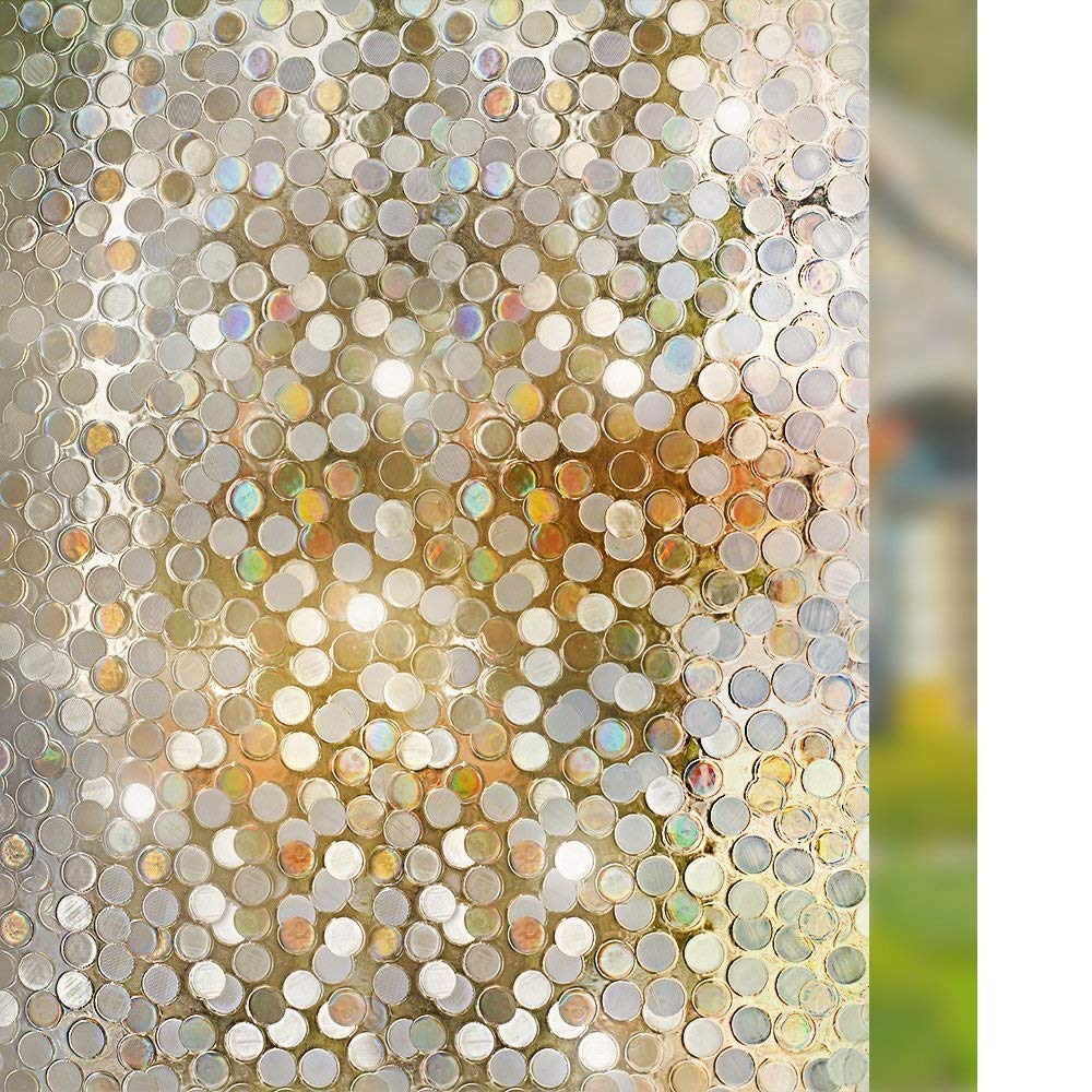 "Rabbitgoo No Glue Privacy Window Film Decorative Window Film Static Cling Window Film Circles Pattern Glass Film for Home Kitchen Office Bedroom Living Room 17.5"" x 78.7"""
