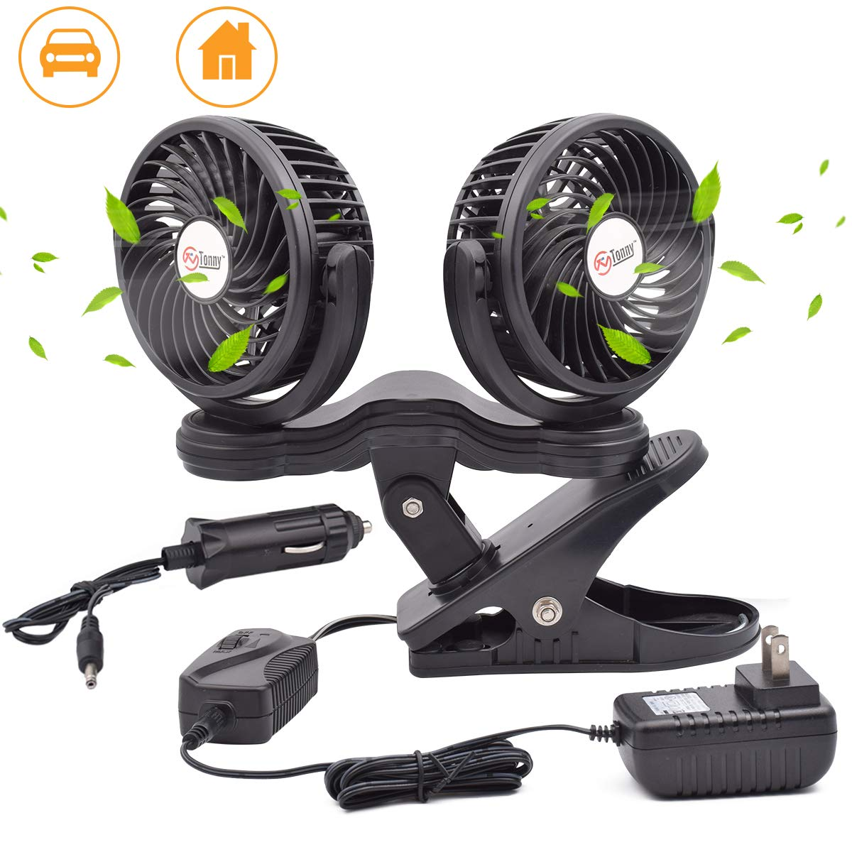 TN TONNY Dual Head Clip Fan, 4 Inches Electric Car Clip Fans 360° Rotatable,12V Cooling Air Fan with Stepless Speed Regulation for Vehicle or Home by TN TONNY