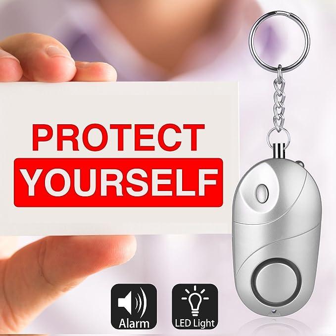 2 pcs 140db Personnel Panique Viol Attaque De Sécurité Porte-clés Plus Alarme Torche Light