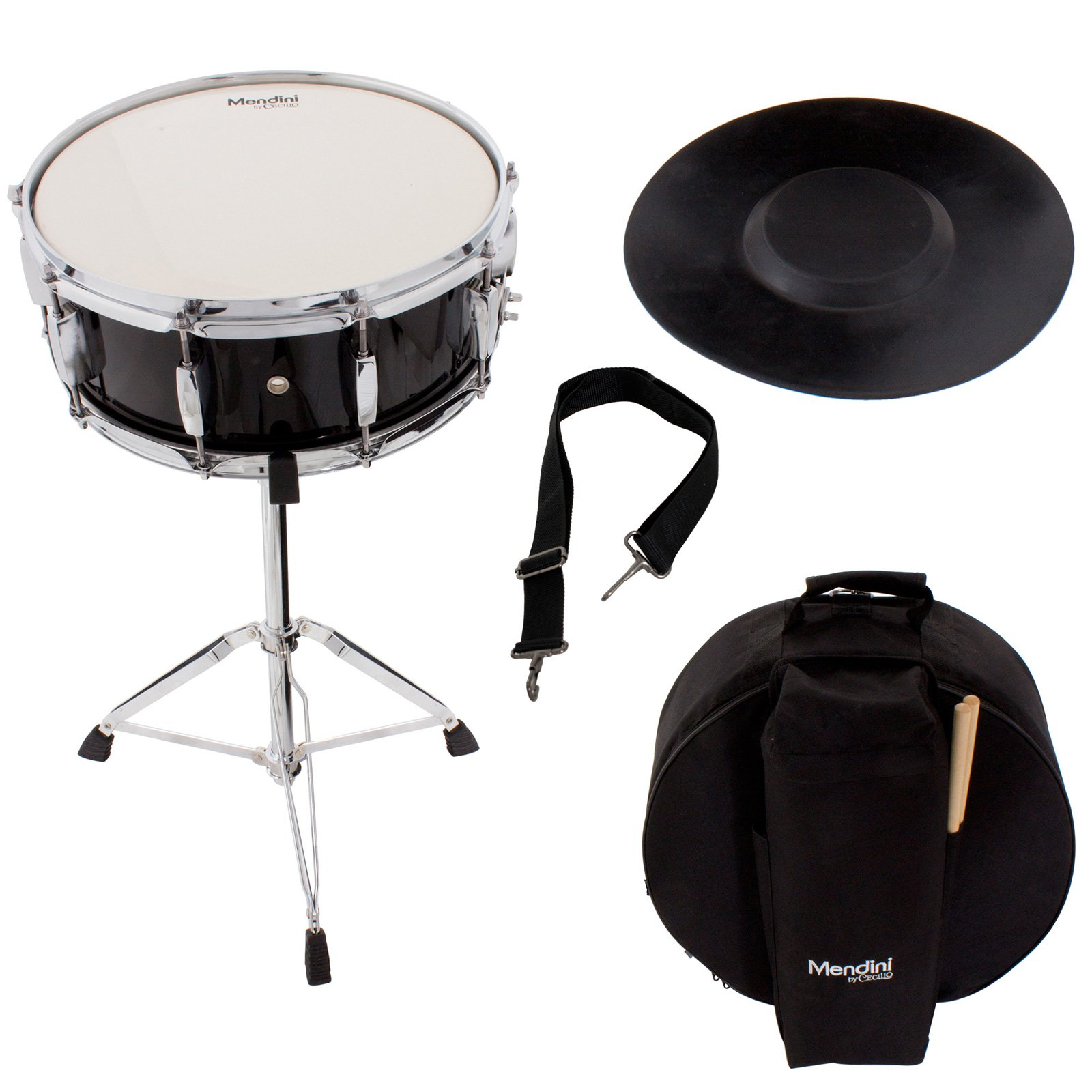 Mendini Student Snare Drum Set with Gig Bag, Sticks, Stand and Practice Pad Kit, Black, MSN-1455P-BK by Mendini by Cecilio
