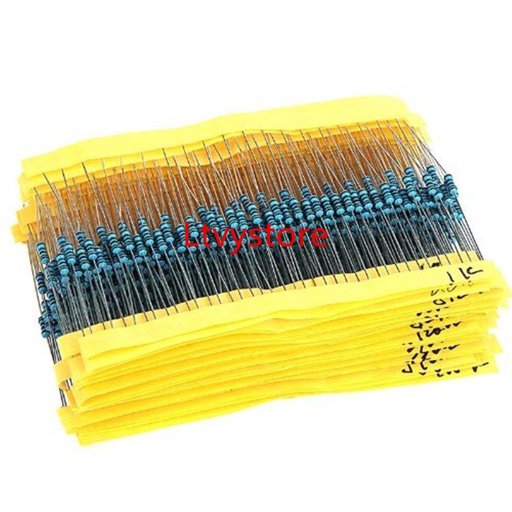 Ltvystore 1280pcs 64 Values 1 ohm - 10M ohm 1/4W Metal Film Resistors Assortment Kit Assorted Set