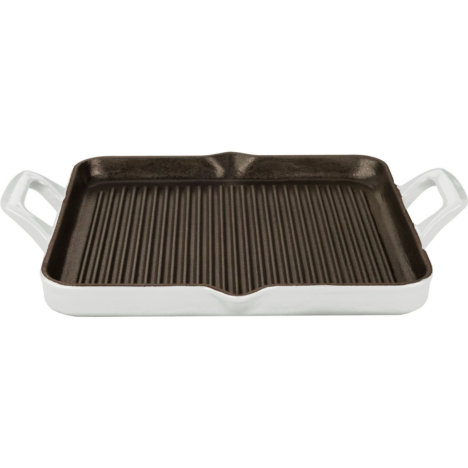 La Cuisine 1 Qt Rectangular Enameled Cast Iron Grill Pan, White