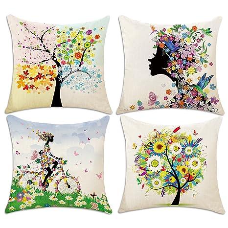 4 Pack Fundas de Cojín, Hotipine Algodón Lino Decorativa impreso Caso de Almohada para Sofá Coche Cama Sillas Decoración 45 x 45 cm (18 x 18