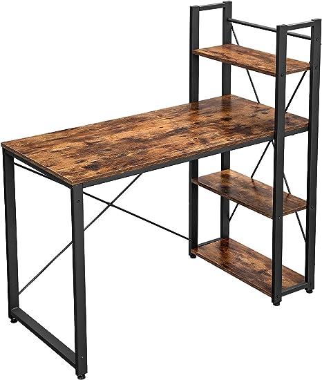 VASAGLE Schreibtisch stabil Homeoffice Arbeitszimmer einfache Montage 120 cm langer Computertisch mit Regalb/öden rechts oder links vintagebraun-schwarz LWD48X B/ürotisch Industrie-Design