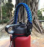 Flask Paracord Handle Holder for Wide Mouth Bottle,Carrier Survival Cord with Safety Ring and Carabiner for Hydro Flask Nalgene CamelBak Wide Bottles 12oz 18oz 32oz 40oz