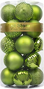 KI Store Christmas Balls Light Green 3.15-Inch Shatterproof Christmas Tree Ball Ornaments Decorations for Xmas Trees Wedding Party Home Decor
