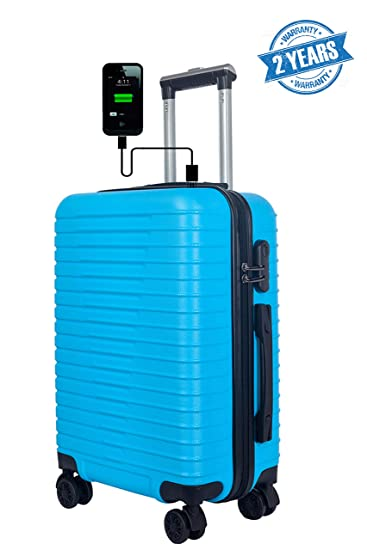 3G Atlantis Smart Series Unisex ABS 24 Inch Check in Size 4 Wheel Blue Hard Sided Luggage Trolley Travel Bag