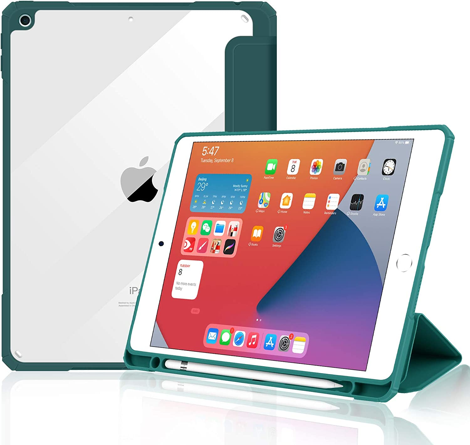 JUQITECH Case for iPad 7th / 8th Gen - Shockproof TPU Air-Pillow Edge Clear Back Full-Body Protective Slim Smart Shell Stand Cover with Apple Pencil Holder Fits iPad 10.2 Inch 2020/2019 Release, Green