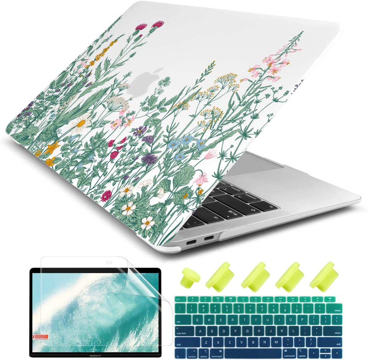 "Dongke New MacBook Air 13 Inch Case 2020 2019 2018 Release Model: A2179/A1932, Frosted Matte Clear Hard Shell Cover for MacBook Air 13"" with Retina Display & Touch ID (Garden Floral)"