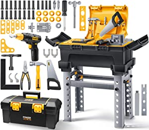 Geyiie Tool Set for Toddlers, Kids Tool Bench with 66 Pcs Tools Toy Accessories for Indoor, Construction Workbench Kit with Electric Drill, Pretend Play Tool Set for Age 3 4 5 6 7 Kids Boys and Girls