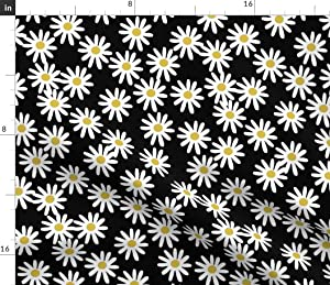 Spoonflower Fabric - Daisy Daisies Flowers Florals Black White Simple 1990s Printed on Cotton Poplin Fabric by The Yard - Sewing Shirting Quilting Dresses Apparel Crafts
