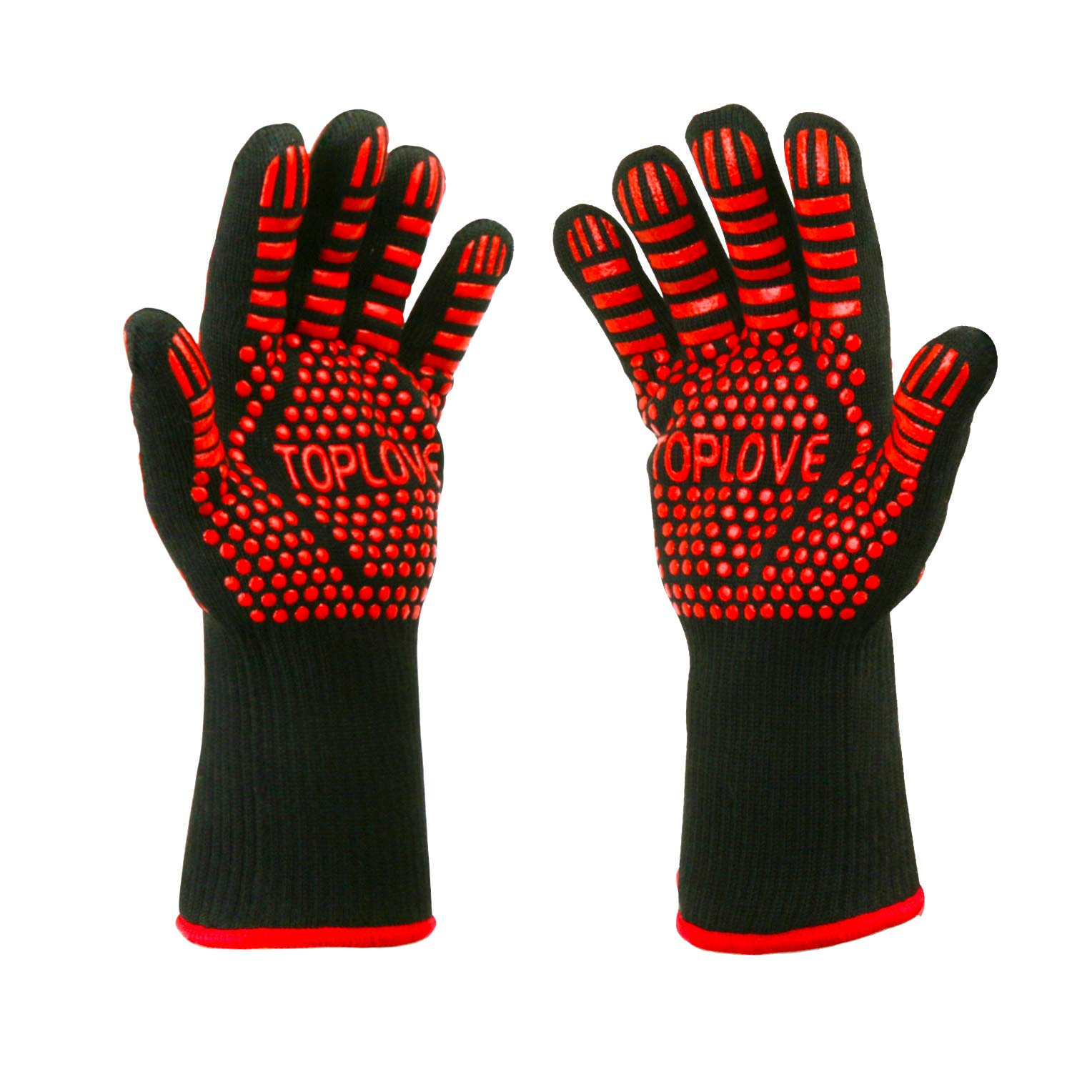 BBQ Cooking Gloves [1472℉ NEWEST] Heat Insulated Grill Glove - EN407/EN420 CE Protective Oven Mitt Extreme Heat Resistant Grilling Glove for Baking - Heatproof Adiabatic Silicone Glove, 1 Pair (Black) ASKALI