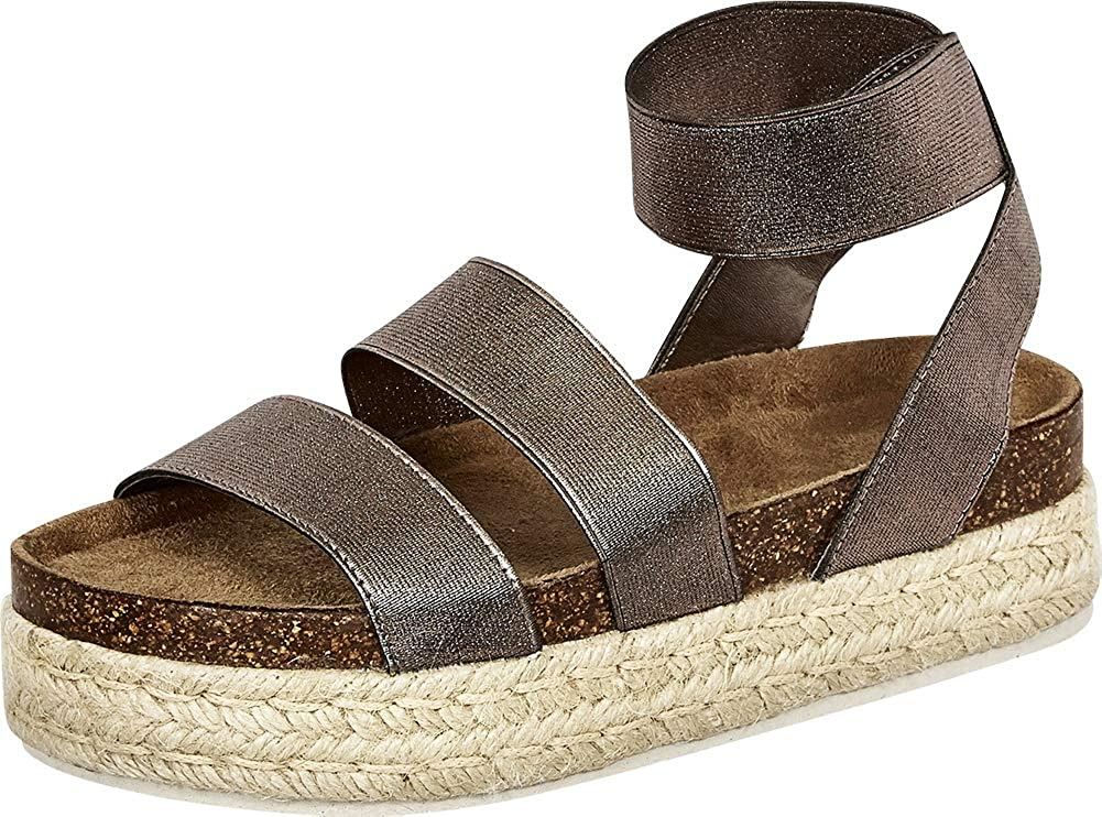 Pewter Cambridge Select Women's Open Toe Stretch Strappy Chunky Espadrille Flatform Sandal
