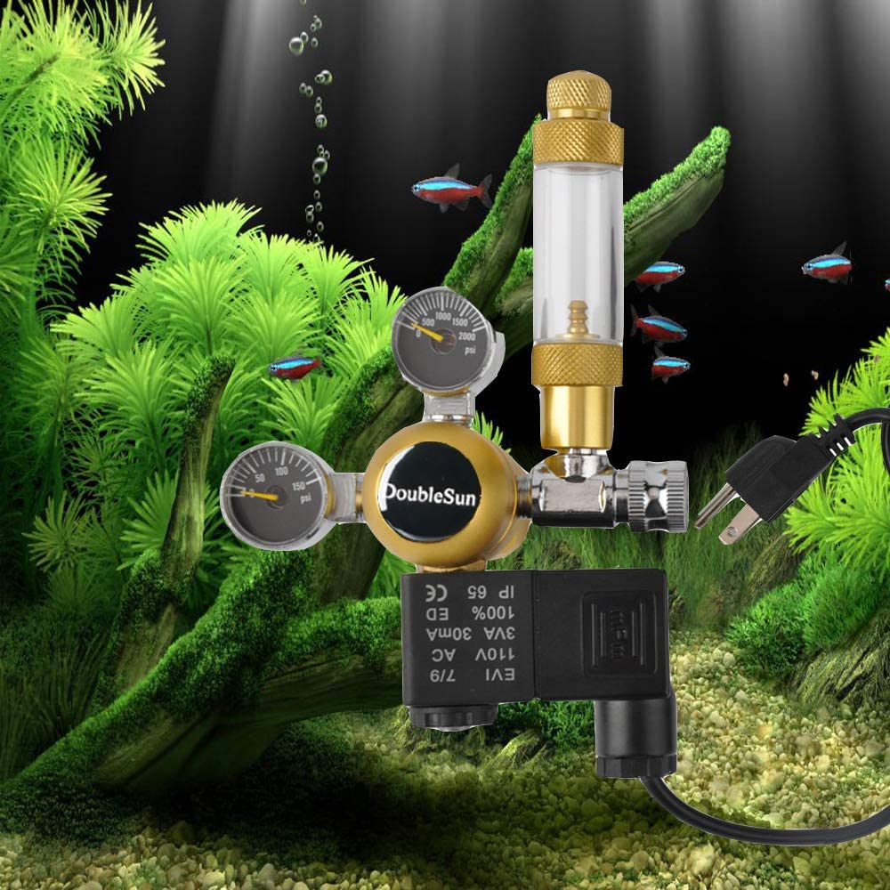 HP2000PSI,LP150PSI Flow Meter Aquarium CO2 Regulator with Solenoid 110V-Mini Dual Gauge Display Bubble Counter,Check Valve Fits Standard US Tanks-Accurate and Easy to Adjust