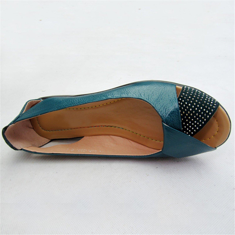 New Summer Women Shoes Woman Genuine Toe Leather Platform Sandals Open Toe Genuine Mother Wedges Casual Sandals Women Sandals B07CV9HWNQ 12 B(M) US|Black 130a1f