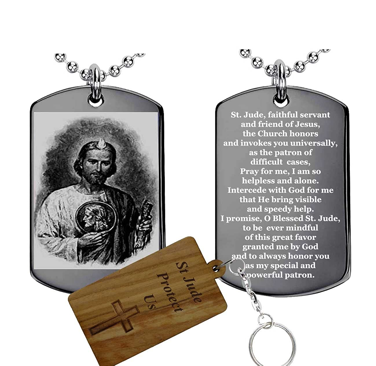 Engravable Gifts St Jude Prayerstainless Steel Pendant Medal