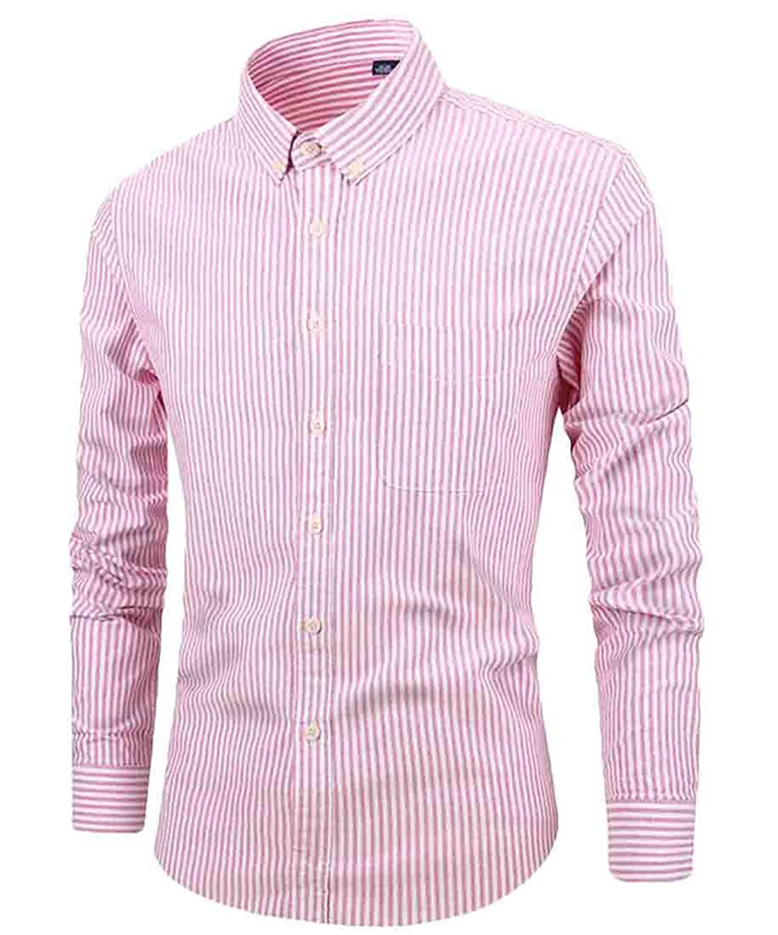 Frieed Mens Long Sleeve Casual Cotton Oxford Striped Skinny Single Breasted Shirts