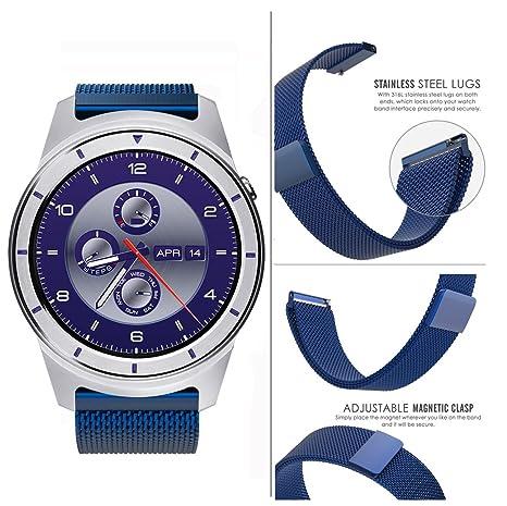 ZTE Quartz Smartwatch Band, Lamshaw Milanese Magnetic Loop Stainless Steel Watch Strap for ZTE Quartz Smartwatch (Blue)