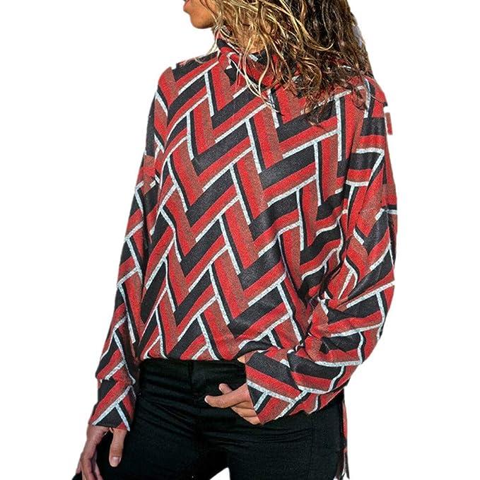 ... Alto y Cuello Rotondo Mujeres Ocasionales de Manga Larga con Cuello Alto geométrico Blouse Jerseys suéter QINGXIA_ZI: Amazon.es: Ropa y accesorios