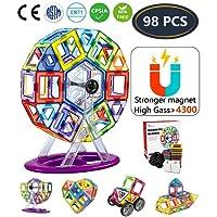 Jasonwell Bloques Magneticos de Construccion Juguetes Didacticos 3D Juegos de Construcción Creativos y Educativos Mejor Regalo para Niños Mayores de 3 años Aprenda El Color y La Forma (98 Piezas)