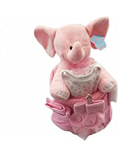 Bebé niña Elefante – tarta de pañales para bebé regalo bebé ducha