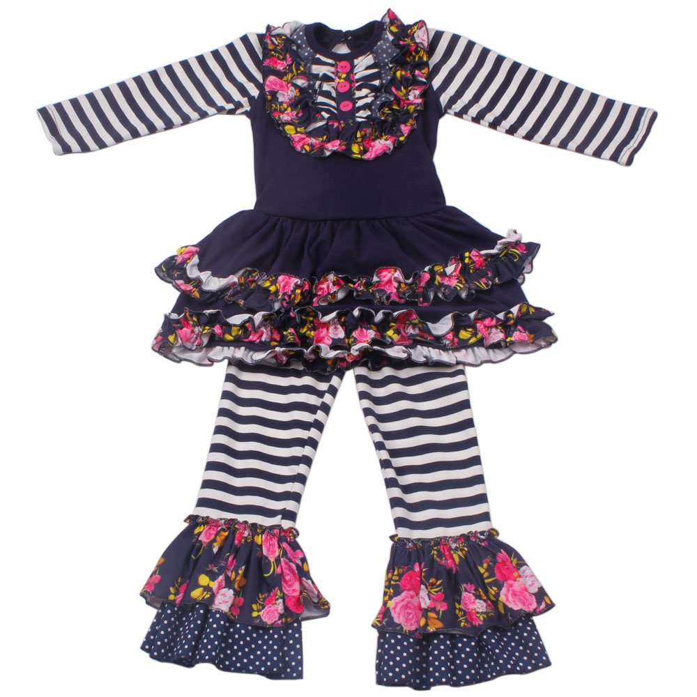 Yliyang Baby Girls Flower Print Ruffle Long Sleeve Dress Pants Set 2 Piece Kids Outfit 4T by Yliyang