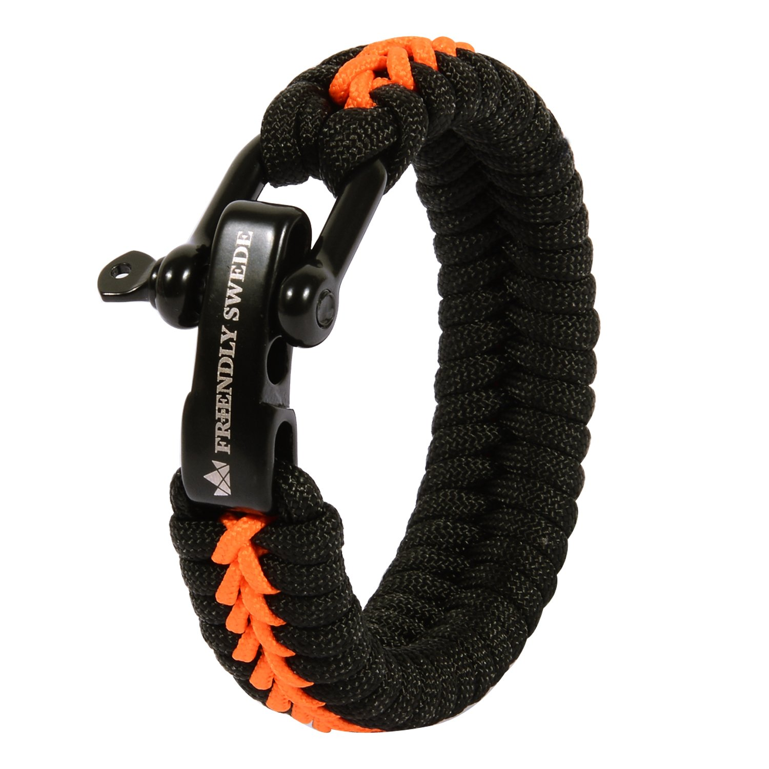 The Friendly Swede Paracord Bracelet with Microcord and D-Shackle - Adjustable Size (Orange Medium)