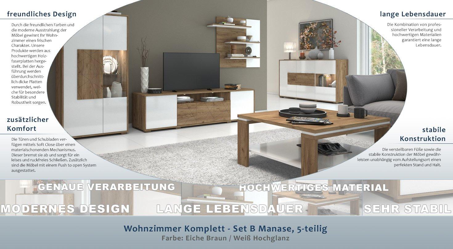Wohnzimmer Komplett - Set B Manase, 5-teilig, Farbe: Eiche ...