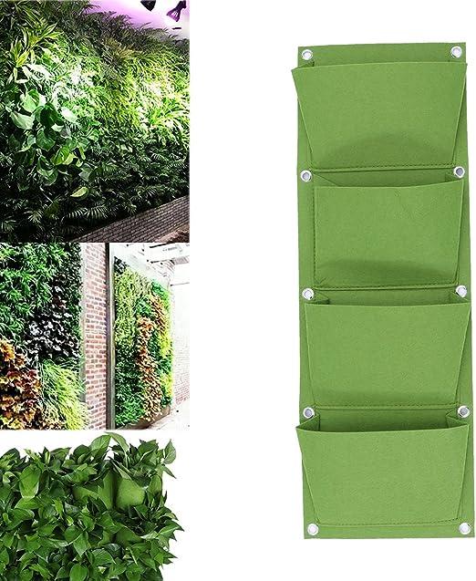 Yardwe - Jardinera de pared vertical con 4 macetas de pared con bolsillo para plantas suculentas y hierbas, colgadas de tela no tejida para jardín, decoración doméstica (verde): Amazon.es: Jardín