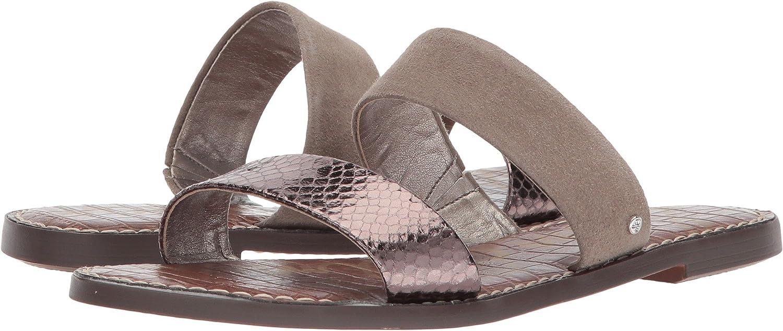 Sam Edelman Women's Gala Slide Sandal B076MJH133 6 W US|Pewter/Putty Metallic Boa/Kid Suede Leather