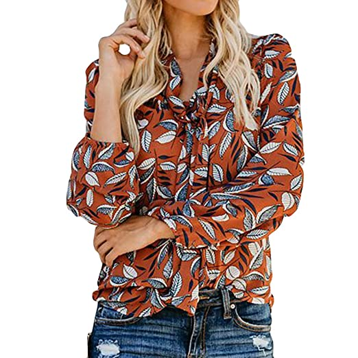 589febffe Image Unavailable. Image not available for. Color: XOWRTE Women's V Neck  Autumn Fashion Print Long Sleeve Chiffon T-Shirt Ribbons Blouse Tops