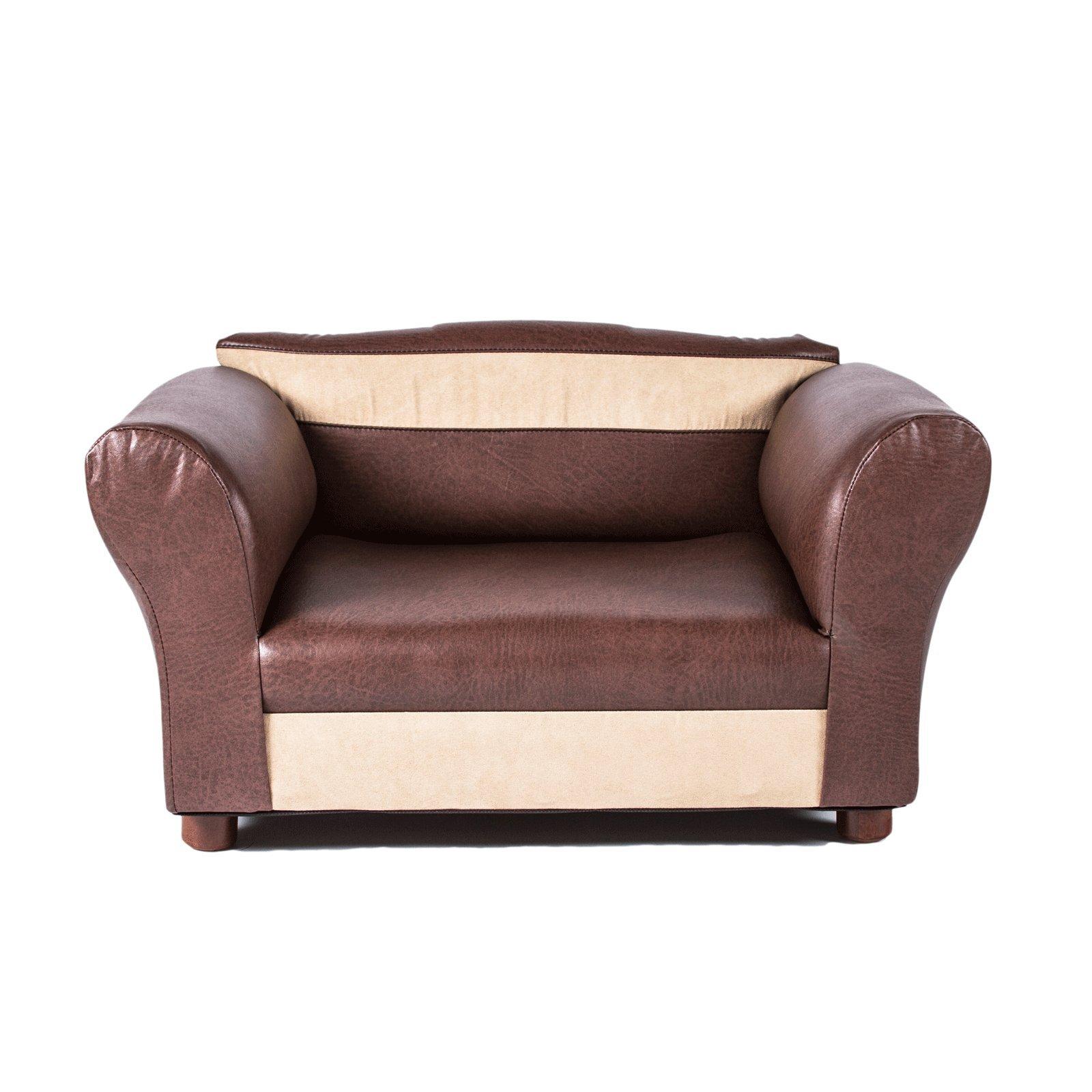 Mini Sofa Brown and Beige Pet Bed