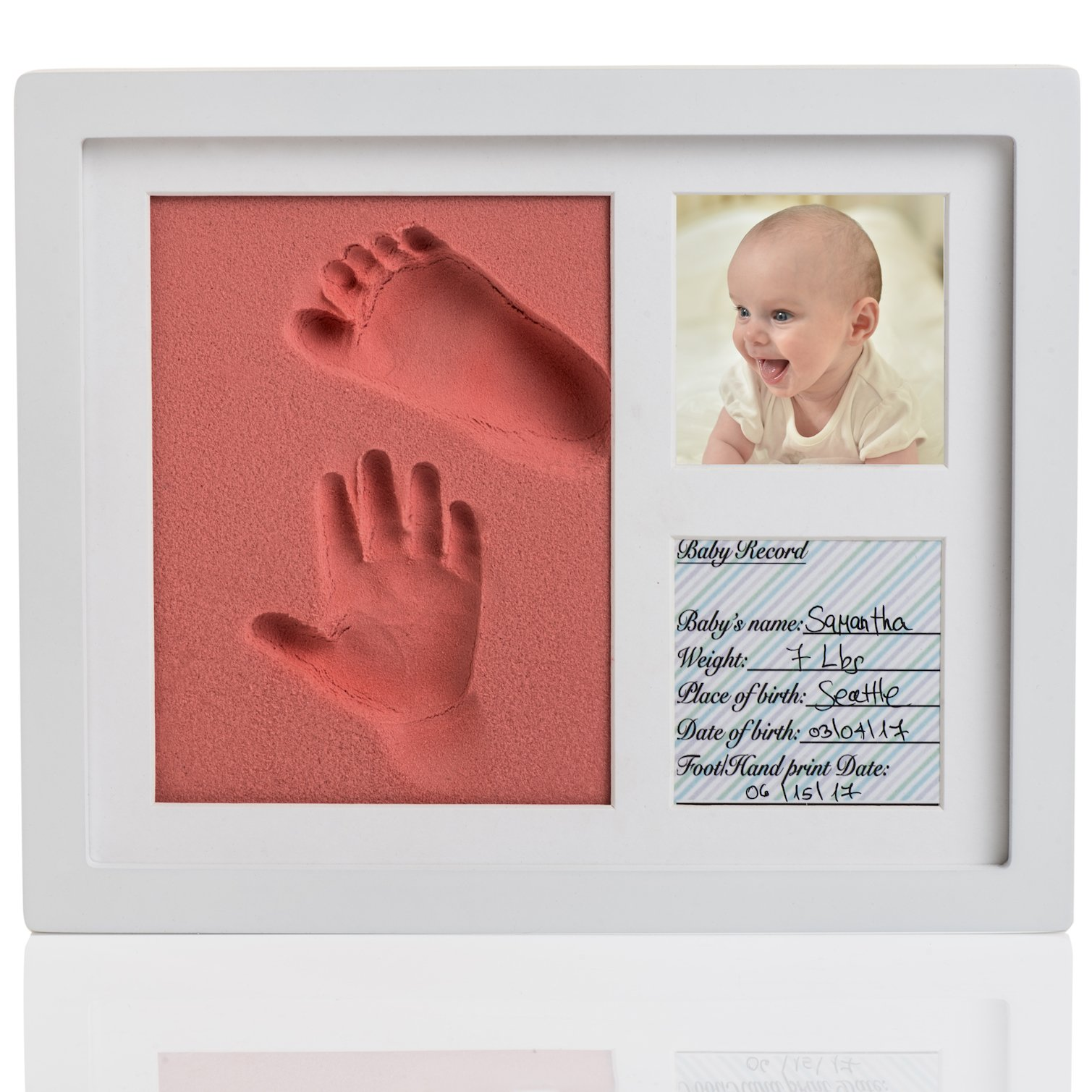 Amazing Baby Handprint and Footprint Frame Kit – Keepsake Preserves Memories – Non Toxic and Safe BIO-foam – Quality Wood Frame - Baby Gift For Baby Registry (Pink)