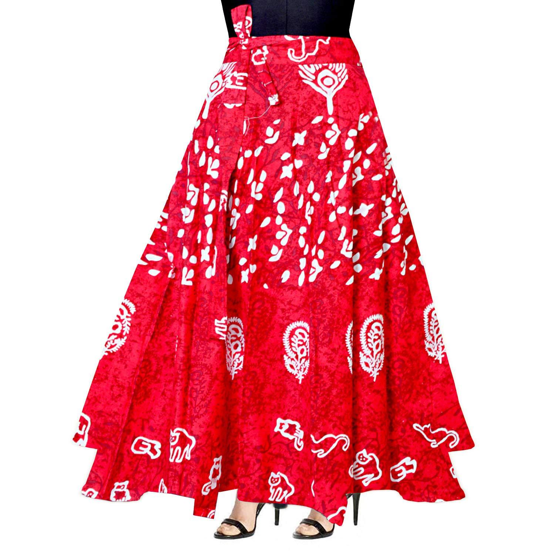 Trendy Fab 100% Cotton Women's Jaipuri Skirt-(WRAP Around Multi Color Free Size)