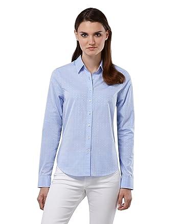 fb0b0eddb57f Embraer Damen Bluse 100% Baumwolle mit Kontrasteinlage Casual-fit - Normale  Passform Langarm Hemdbluse elegant festlich Kent-Kragen auch für Business  und ...