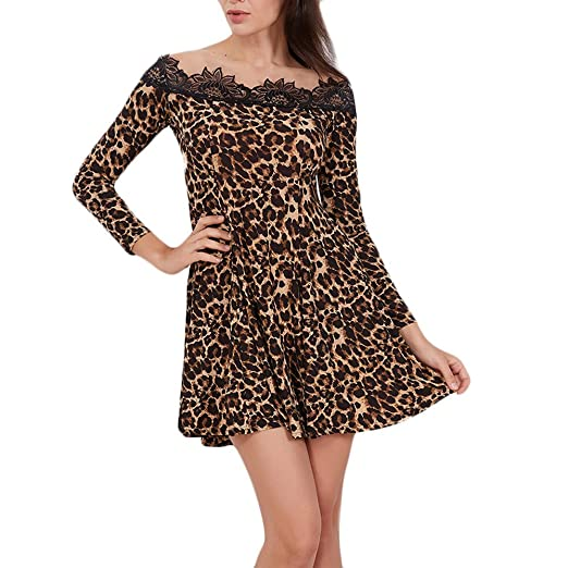 7b21fcf1002f HHei K Womens Casual Sexy Slash Neck Off Shoulder Long Sleeves Floral Lace  Leopard Print Splicing Flowy Mini Dress at Amazon Women s Clothing store