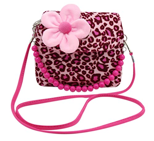 7ab561b34995 Amazon.com  Little Girls Plush Crossbody Purse 3D Flower Shoulder HandBag  with Bead Handle  Shoes