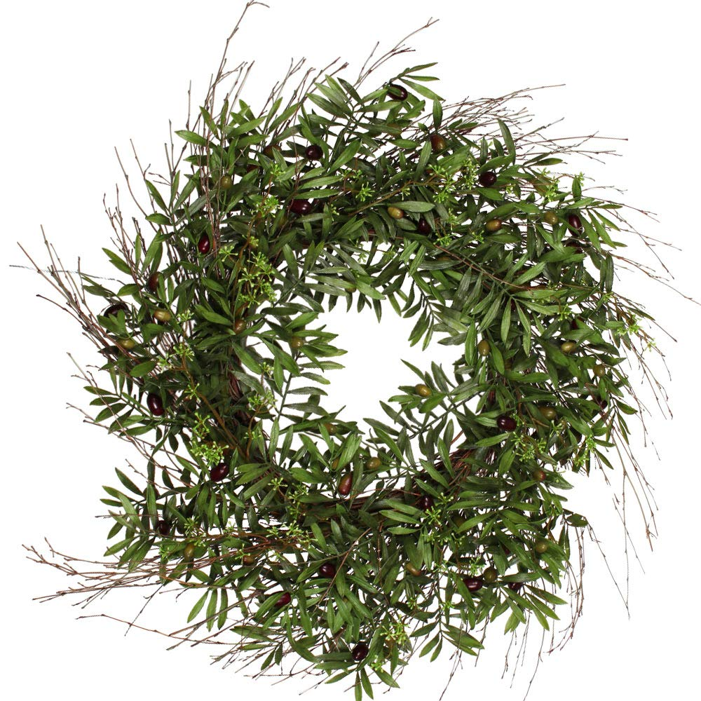 Artificial Olives and Leaves Ten Waterloo 30 Inch Olive Wreath on a Natural Twig Base