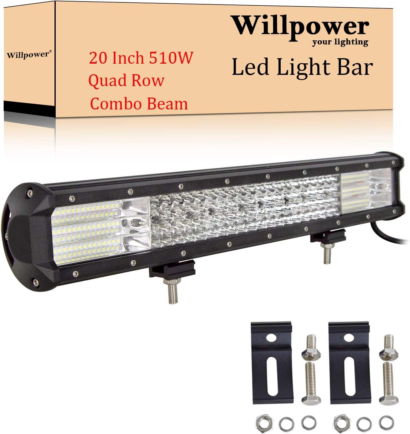 Willpower Barra LED 4x4 510W 50cm Barras Luce de Trabajo 9D Combinación de Punto Inundación Foco Led 12V 24V 6000K Faro Led IP67 Impermeable para Coche Tractor Camion Barco ATV UTV SUV